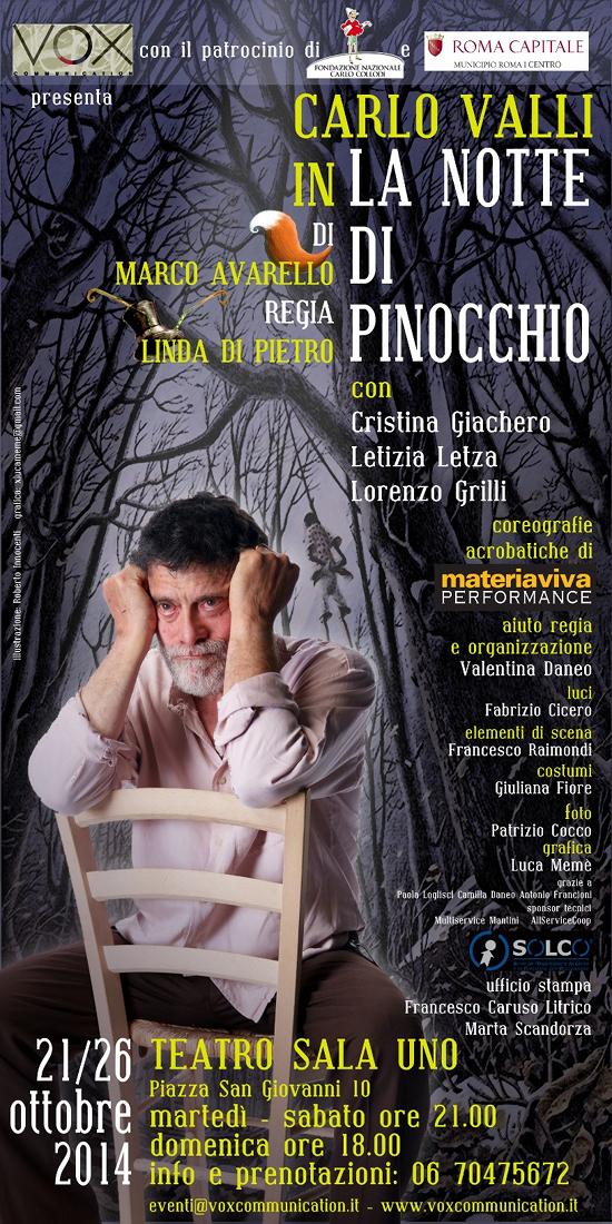 La notte di Pinocchio_Carlo Valli_Teatro Sala Uno Roma_locandina
