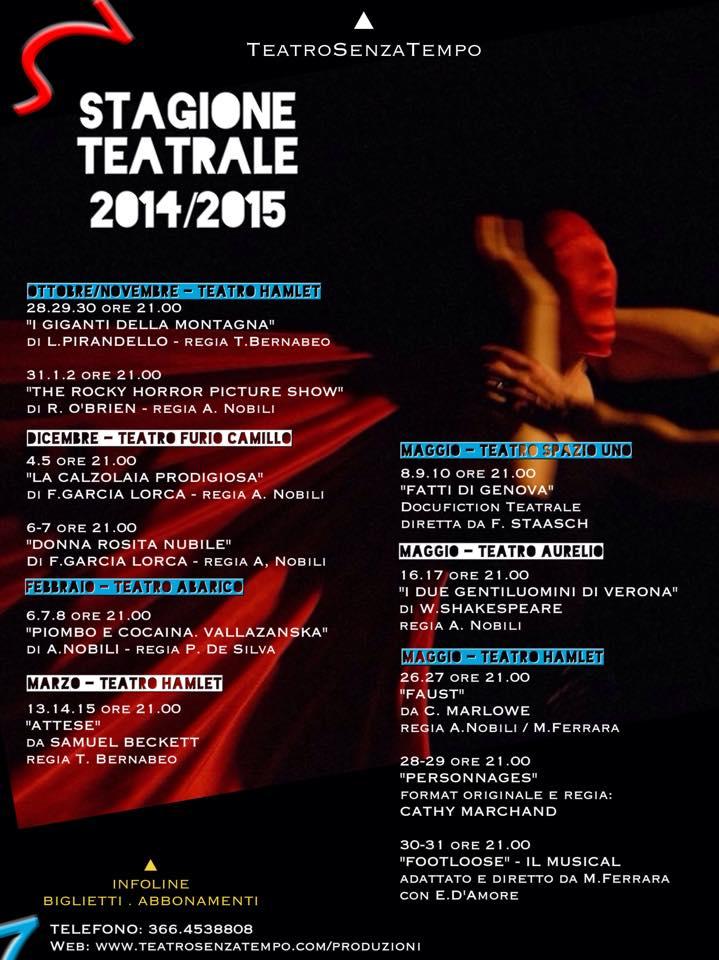 Locandina_Stagione TeatroSenzaTempo 2014: 2015