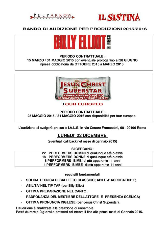 bando audizione produzioni 2015-2016  Jesus Christ Superstar e Billy Elliot peep arrow_pg 1