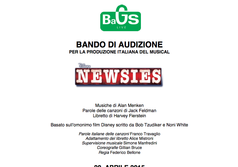 Casting Newsies musical basato sul film Disney