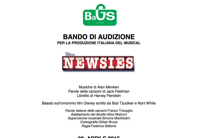 Casting Newsies musical basato sul film Disney