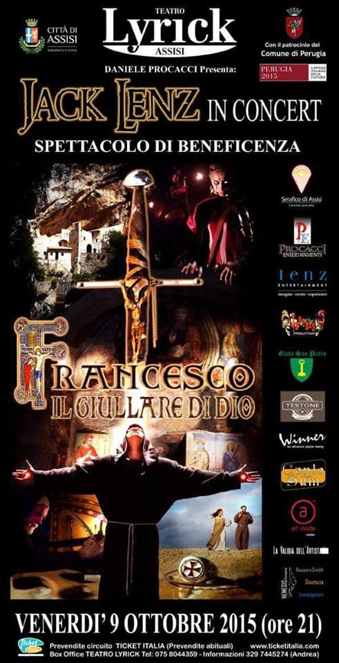 Jack Lenz in concert ad Assisi presenta il suo inedito musical