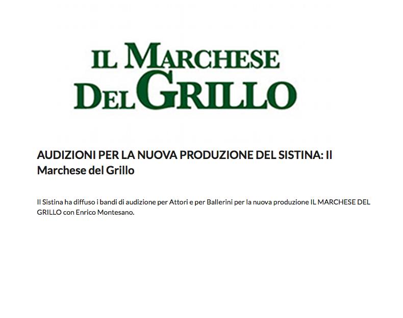 casting il marchese del grillo audizioni_sistina roma_massimo romeo piparo