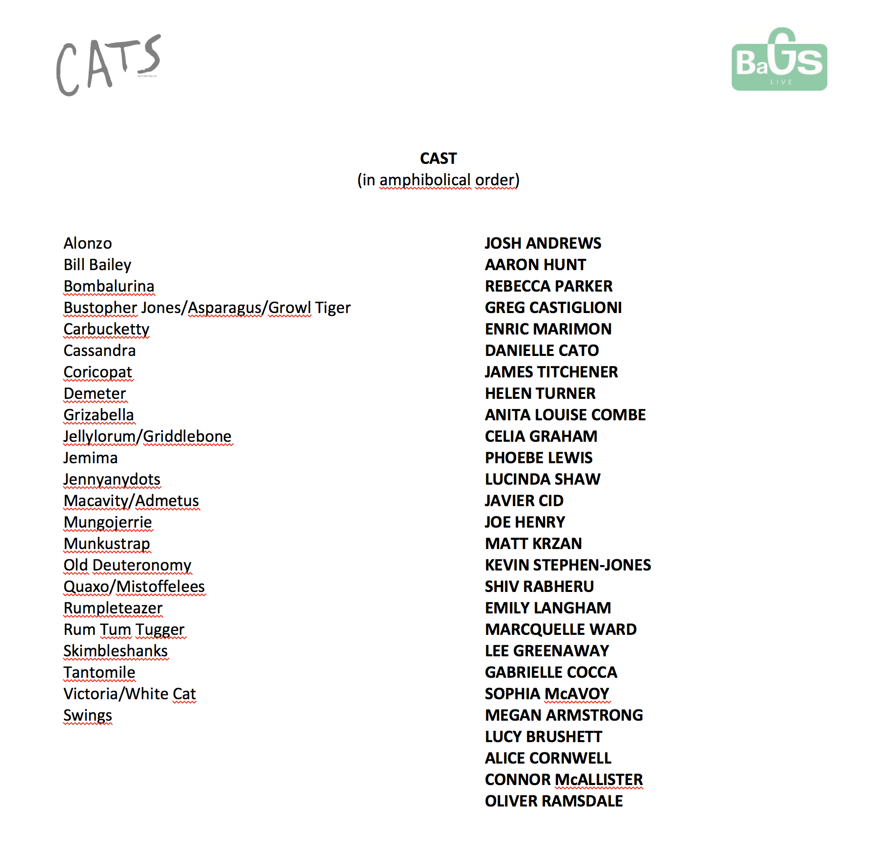 CATS let the memory live again - tour italiano_cast