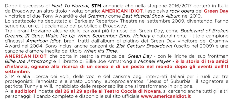 Casting American Idiot di STM musical italia stm