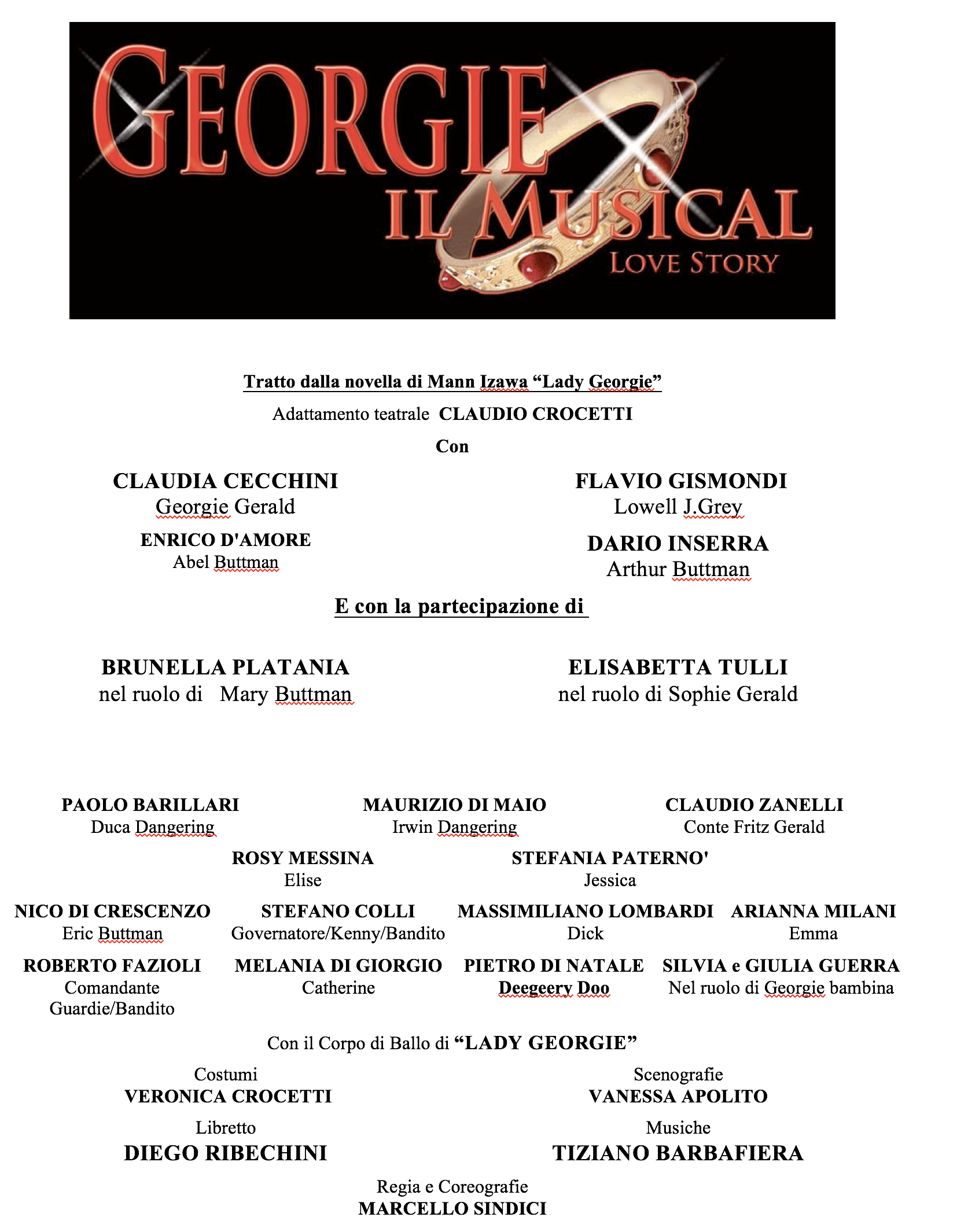 Georgie Il Musical cast