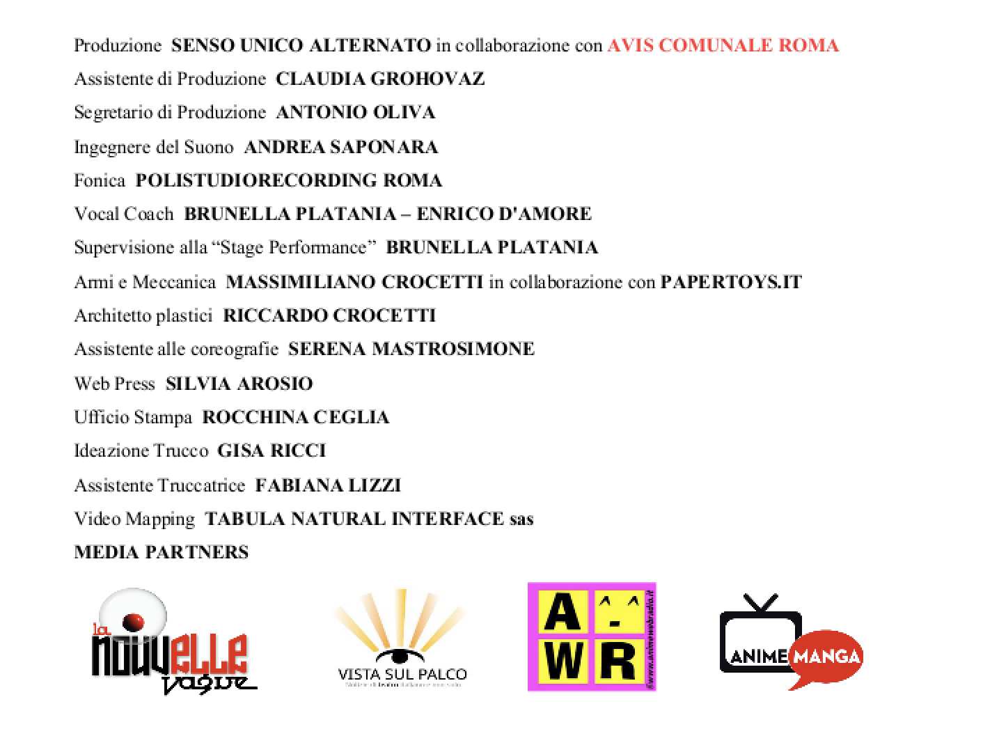 Georgie Il Musical credits e media partners