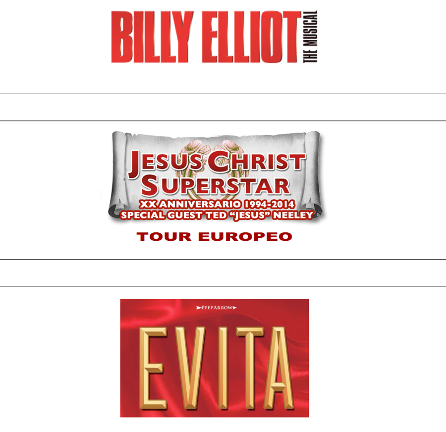 Bando audizioni Produzioni 2016 2017 Peep Arrow - Jesus Christ Superstar Billy Elliot Evita