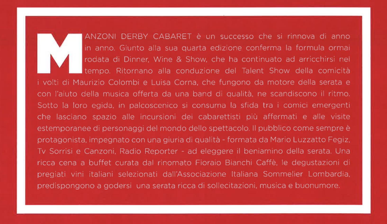 Teatro Manzoni 2016 2017 derby cabaret 2016 - 2017