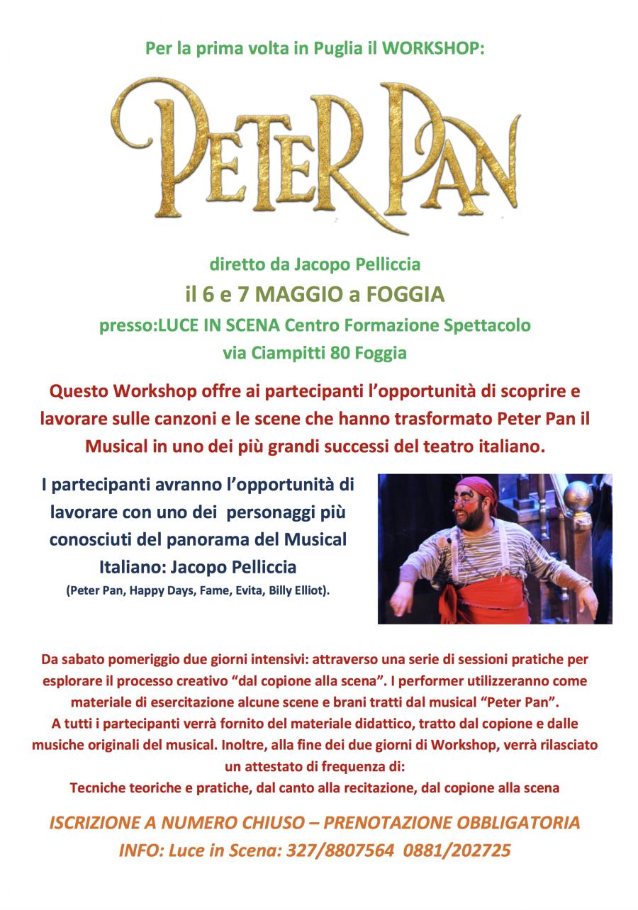 Workshop Peter Pan il Musical con Jacopo Pelliccia a Foggia