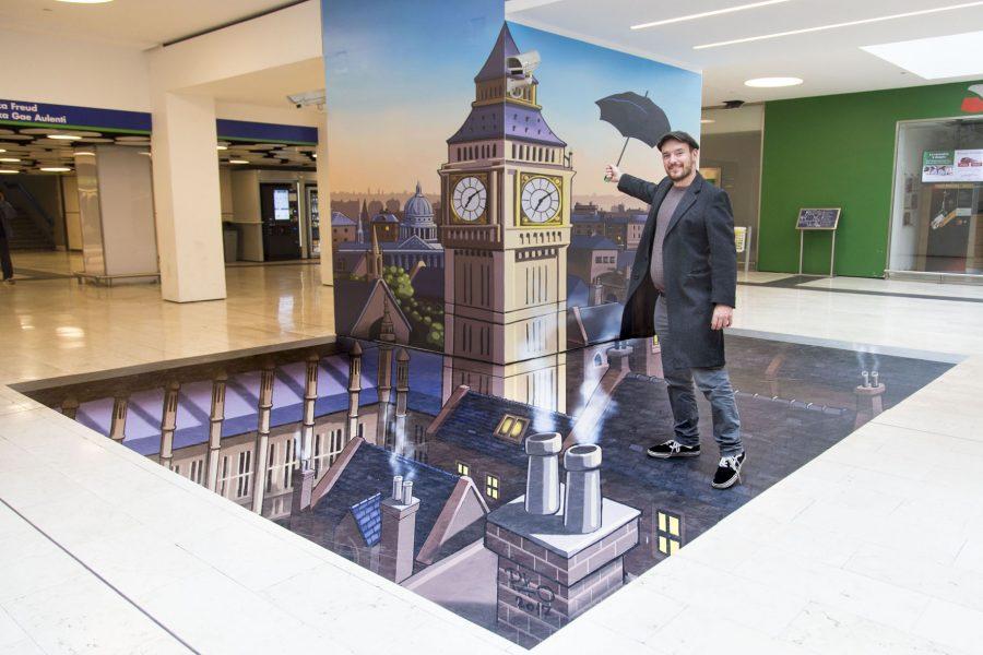 Aspettando Mary Poppins il musical l'installazione effetto 3D a Milano