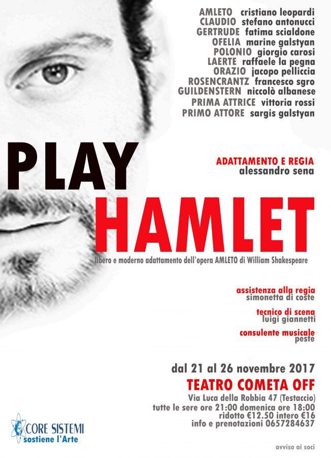 Jacopo Pelliccia e' Orazio in Play Hamlet al Teatro Cometa Off