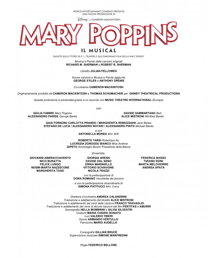 Mary Poppins da ottobre 2018 a Milano-cast