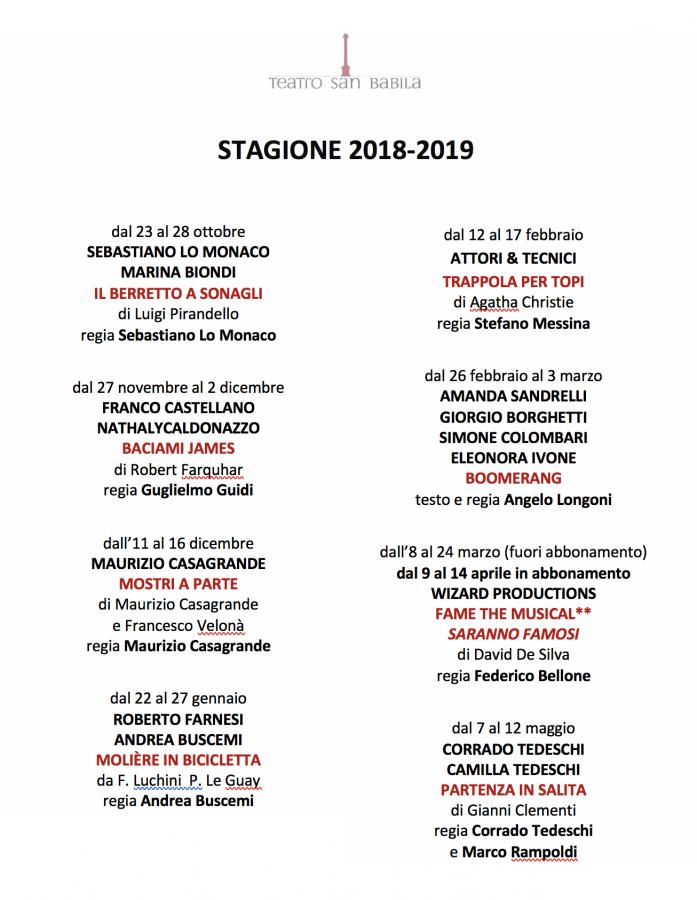 Stagione Teatro San Babila 2018:2019 cartellone