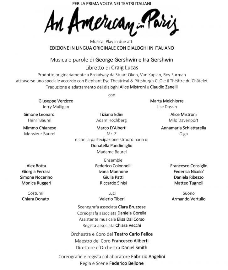 An American in Paris il musical debutta a Genova. Regia Federico Bellone - cast completo