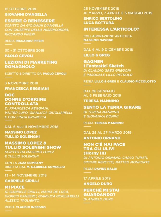 stagione 2018-2019 del Teatro Manzoni - cabaret 2018-2019