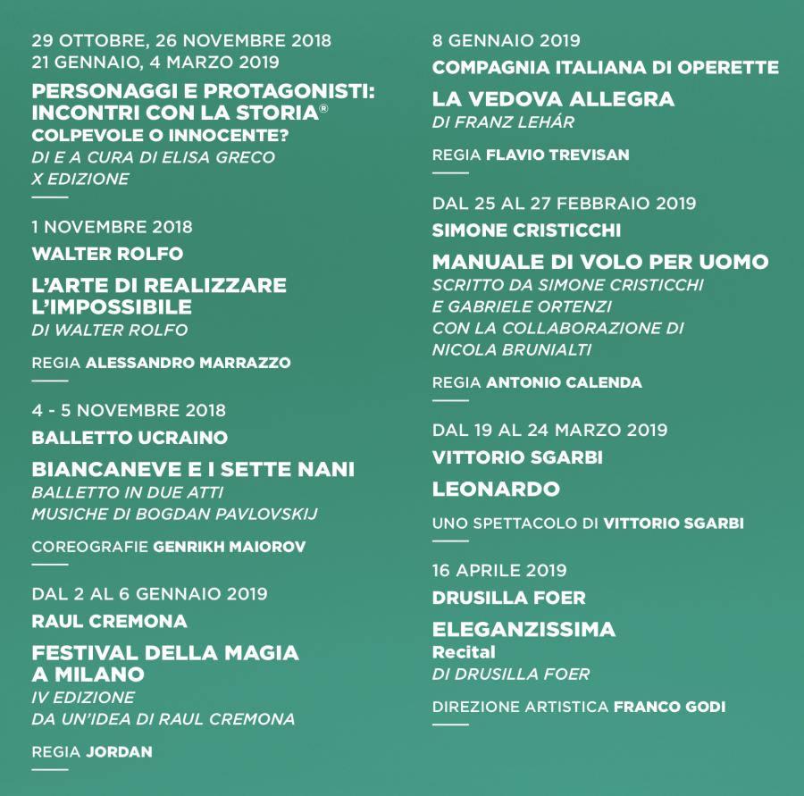stagione 2018-2019 del Teatro Manzoni - extra 2018-2019
