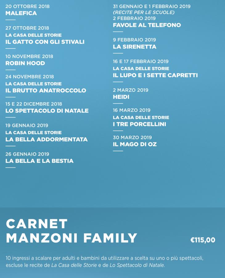 stagione 2018-2019 del Teatro Manzoni - family 2018-2019-