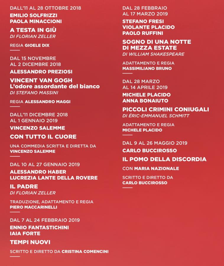 stagione 2018-2019 del Teatro Manzoni - prosa 2018-2019