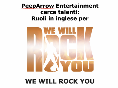 Audizioni italiane We Will Rock You per tour Europeo 2019-2020. Ruoli