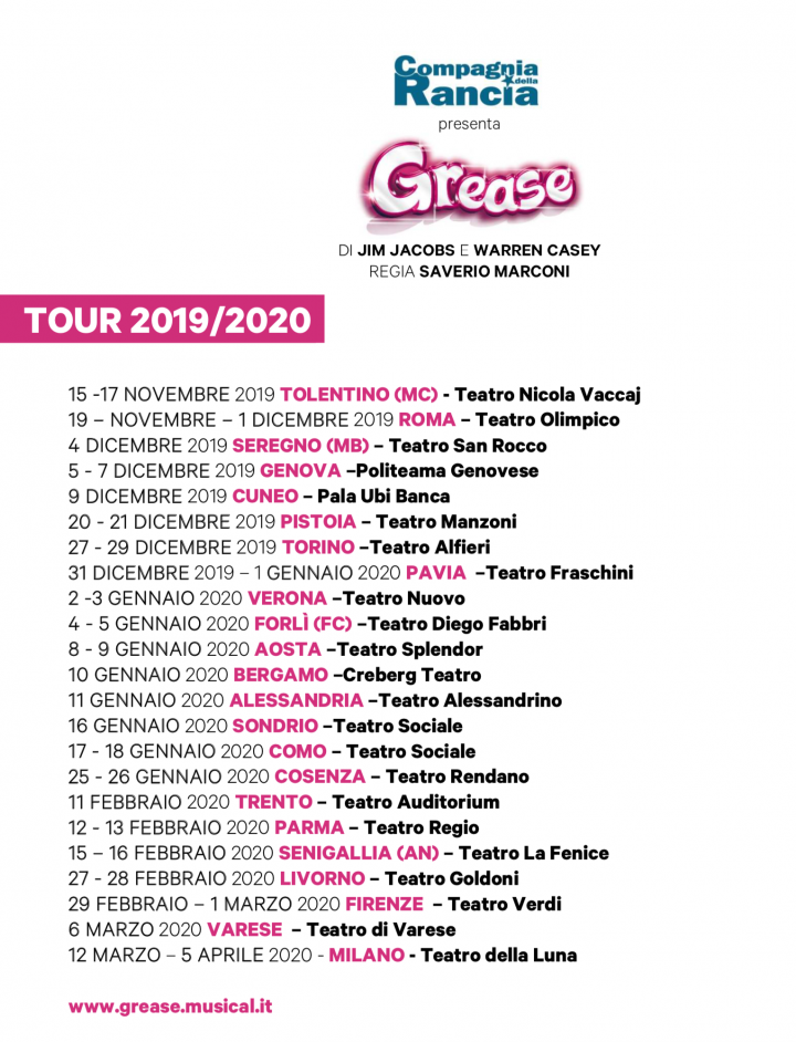 tour di Grease Musical 2019 - 2020